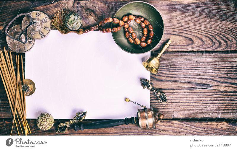 Tibetische religiöse musikalische Themen für die Meditation Schalen & Schüsseln Behandlung Alternativmedizin harmonisch Erholung Yoga Papier alt braun weiß