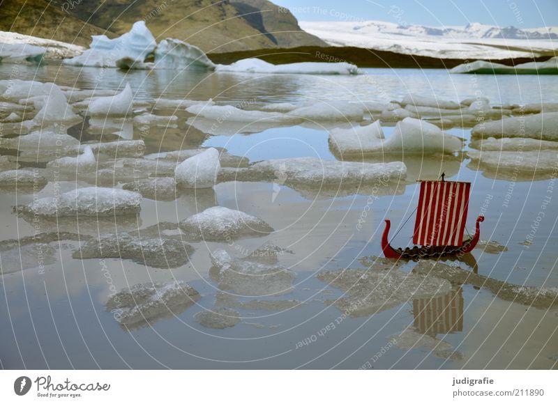 Island Natur Wasser Himmel Ferien & Urlaub & Reisen kalt Schnee Berge u. Gebirge See Landschaft Eis Stimmung Umwelt Felsen Abenteuer Frost Klima