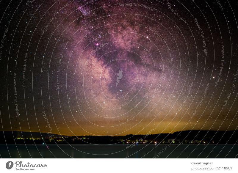 Milchstraße über dem Bodensee Ferien & Urlaub & Reisen Tourismus Ferne Sommerurlaub Wissenschaften Astronomie Natur Landschaft Wasser Wolkenloser Himmel Stern