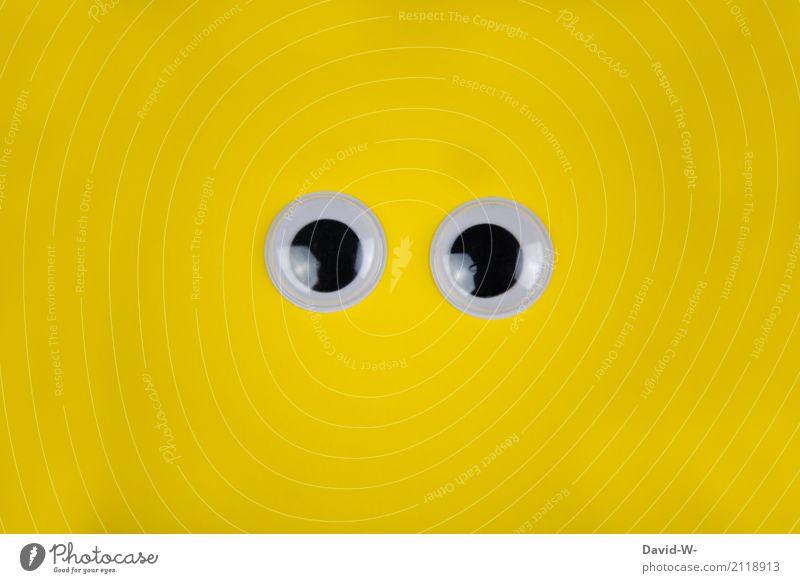 Große Augen kaufen Leben Sinnesorgane Mensch 1 Kunst beobachten Kommunizieren Menschlichkeit achtsam Wachsamkeit Angst verstört Schüchternheit gelb Blick offen