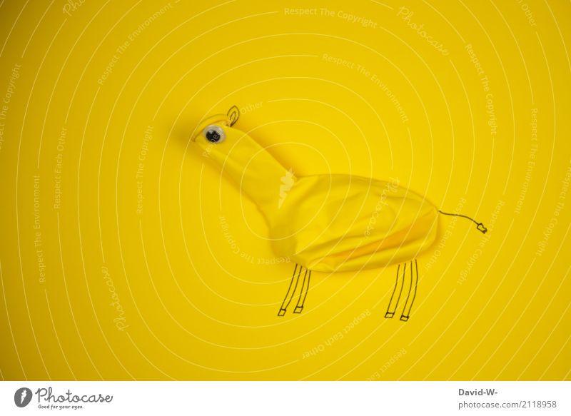 lustige Kreatur entworfen Wesen gelb Giraffe Luftballon witzig kreativ Tier Monster Pferd basteln Kunst