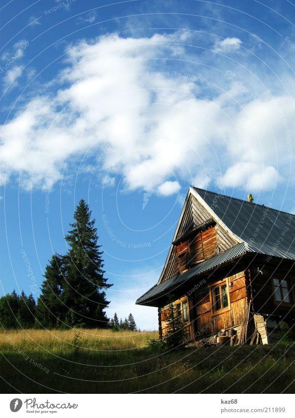 Tatra Natur Baum Sommer Ferien & Urlaub & Reisen Wolken ruhig Haus Wald Erholung Berge u. Gebirge Landschaft Gras Holz Architektur Gebäude Ausflug