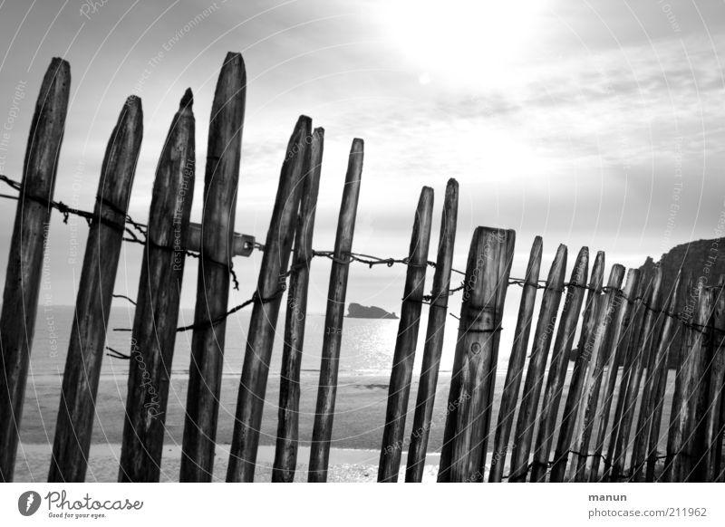 Barriere Natur Himmel Sonne Meer Ferien & Urlaub & Reisen Einsamkeit Ferne Freiheit Holz grau Landschaft Küste glänzend Umwelt Ausflug Tourismus