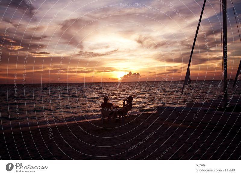 Perfect Date Himmel Natur Wasser rot Sonne Ferien & Urlaub & Reisen Meer Sommer Strand Freude Wolken sprechen Glück Sand Denken träumen