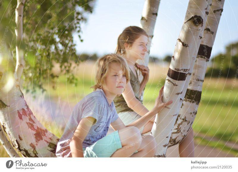 ferienbeginn Mensch Kind Ferien & Urlaub & Reisen Jugendliche Sommer Sonne Baum Ferne Mädchen Leben Umwelt Lifestyle Junge Freiheit Ausflug Kindheit