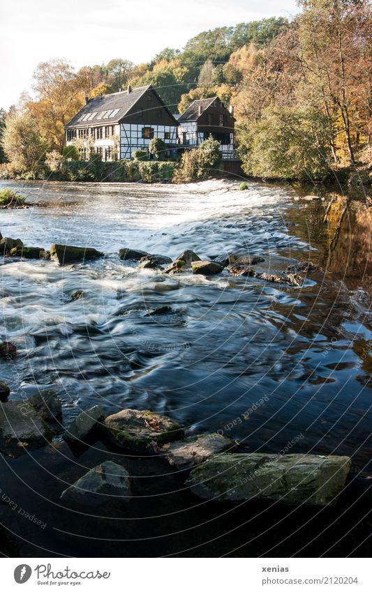 Wipperkotten im Bergischen Land Tourismus Ausflug Wasserkraftwerk Museum Herbst Wellen Flussufer Bach Solingen Haus Fachwerkhaus Schleifkotten Denkmal