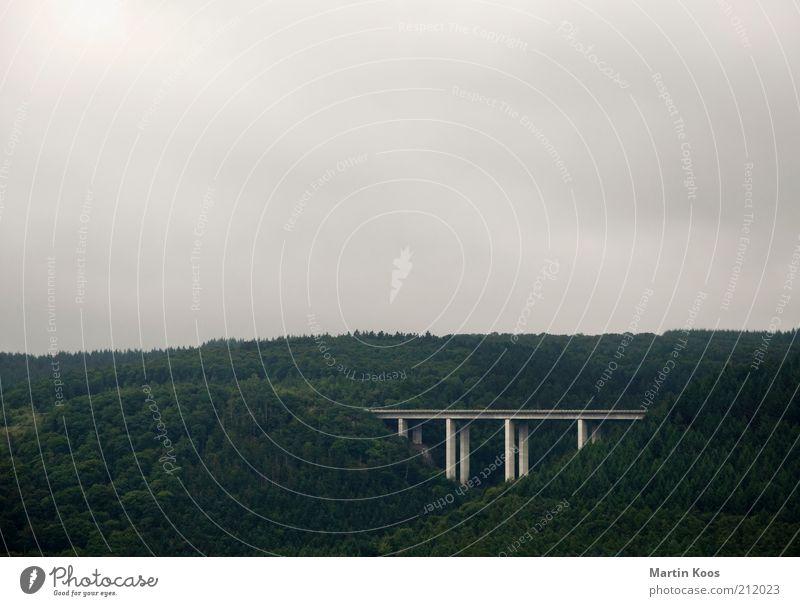 ÜberBrücken Natur Wald Berge u. Gebirge Landschaft Straßenverkehr Umwelt groß Verkehr Brücke Klima Verkehrswege Tal Pylon Wolkenhimmel Wolkendecke überbrücken
