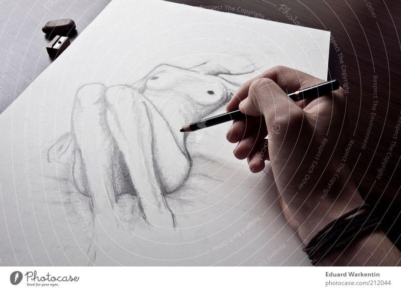 Der Strich maskulin Hand Finger 1 Mensch Kunst Künstler Maler Kunstwerk Kultur Arbeit & Erwerbstätigkeit zeichnen Armband kohlestift Bleistift Zeichnung Papier