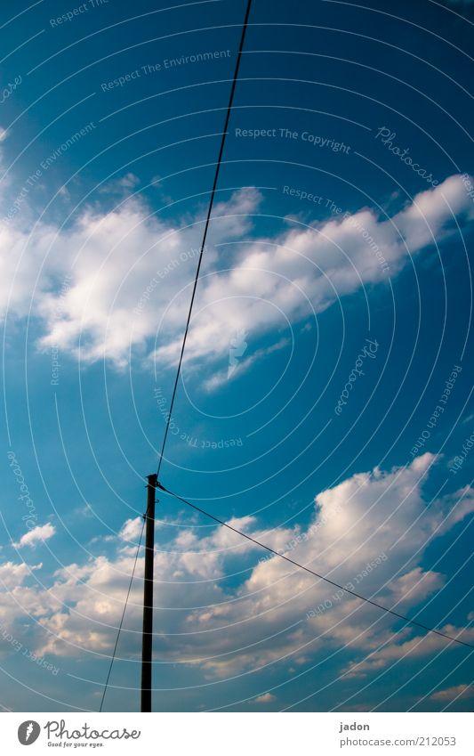 weiterleitung. Telekommunikation Himmel Wolken Linie Leitung Oberleitung Kabel Verteiler Vernetzung Tag