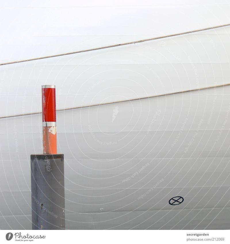 pin-up weiß rot Ferien & Urlaub & Reisen Einsamkeit Linie orange Schilder & Markierungen Ordnung Seil modern Güterverkehr & Logistik Kreuz Schifffahrt gestreift Pfosten graphisch