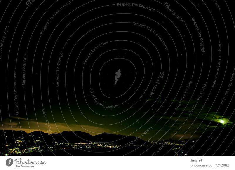 N8 Natur Landschaft Himmel Wolken Gewitterwolken Nachthimmel Mond Sommer Hügel Berge u. Gebirge See Lago Maggiore Gelassenheit ruhig demütig Sehnsucht Heimweh