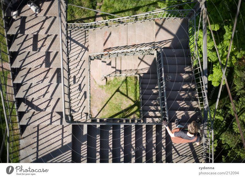 Abstieg Mensch Mann Natur Ferien & Urlaub & Reisen ruhig Leben Gefühle Bewegung Wege & Pfade Erwachsene Zeit laufen Ausflug wandern Treppe Tourismus