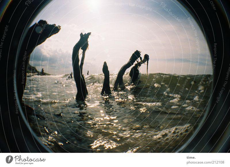 Tanz der Wassergeister Natur Himmel Sonne Meer Strand Holz Tanzen Küste Wellen nass feucht direkt Schönes Wetter Geister u. Gespenster Luftblase