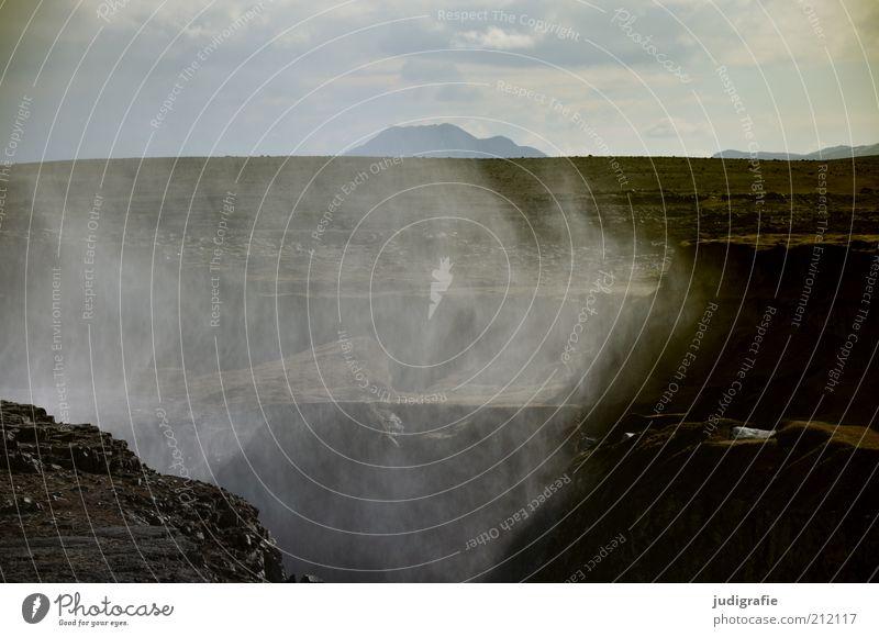 Island Umwelt Urelemente Wasser Wassertropfen Himmel Wolken Klima Nebel Felsen Schlucht Wasserfall dettifoss dunkel kalt natürlich wild Stimmung Einsamkeit