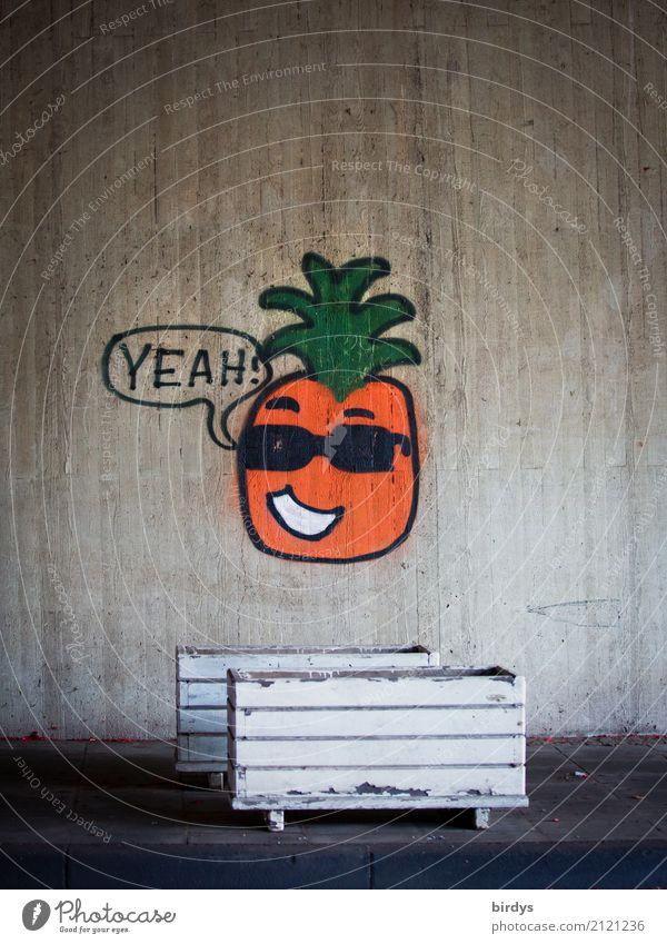 Coole Ananas maskulin Kopf Jugendkultur Sonnenbrille Beton Zeichen Graffiti Sprechblase lachen sprechen ästhetisch außergewöhnlich Coolness Freundlichkeit