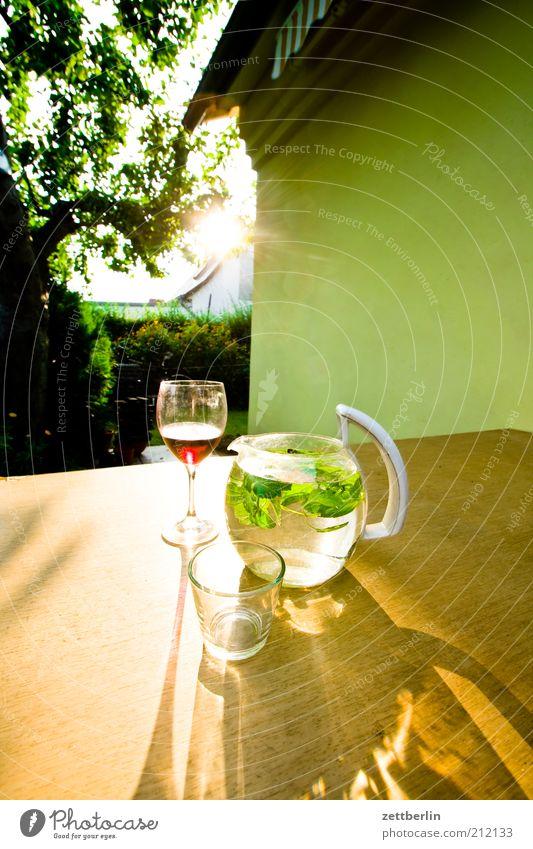 Wasser und Wein Wellness Erholung Natur Pflanze August Erholungsgebiet Glas Wasserglas Krug Karaffen Garten Weinglas Zitronenmelisse Rotwein Sonnenuntergang
