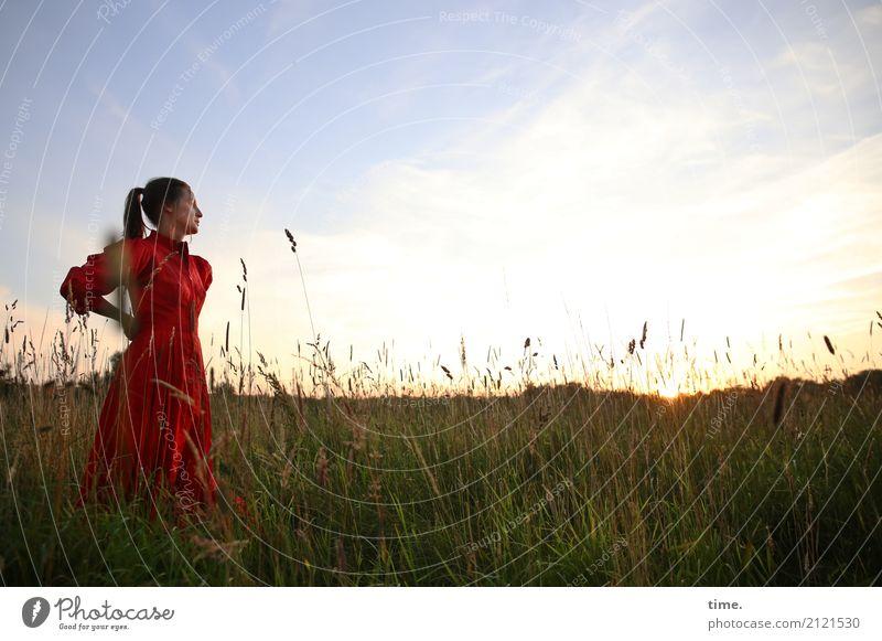 lil't feminin Frau Erwachsene 1 Mensch Himmel Wolken Horizont Schönes Wetter Wiese Feld Kleid brünett langhaarig Zopf beobachten Blick stehen schön Gefühle