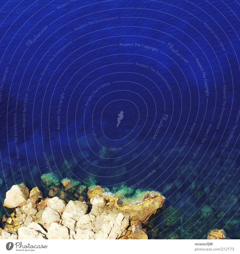 Blaue Lagune. Wasser Meer blau Ferien & Urlaub & Reisen ruhig Küste Reisefotografie Klarheit natürlich Bucht Spanien Fernweh Mallorca steinig Riff Sonnenlicht
