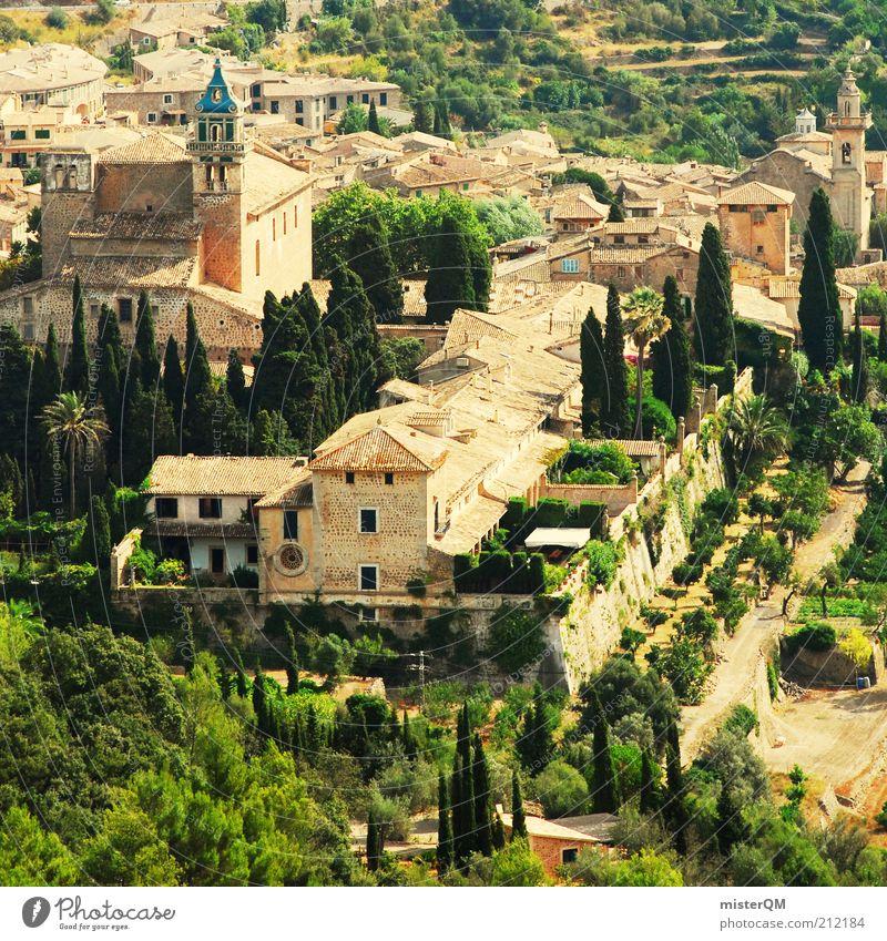 El Paraíso Valldemossa. alt Stadt Ferien & Urlaub & Reisen Tourismus Kirche Reisefotografie historisch Spanien Baum Fernweh Mallorca Tal Sehenswürdigkeit