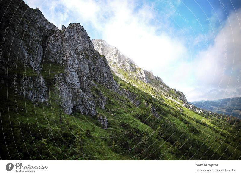 Fels Natur Himmel grün Wolken Berge u. Gebirge grau Landschaft Felsen Reisefotografie Alpen Wolkenhimmel