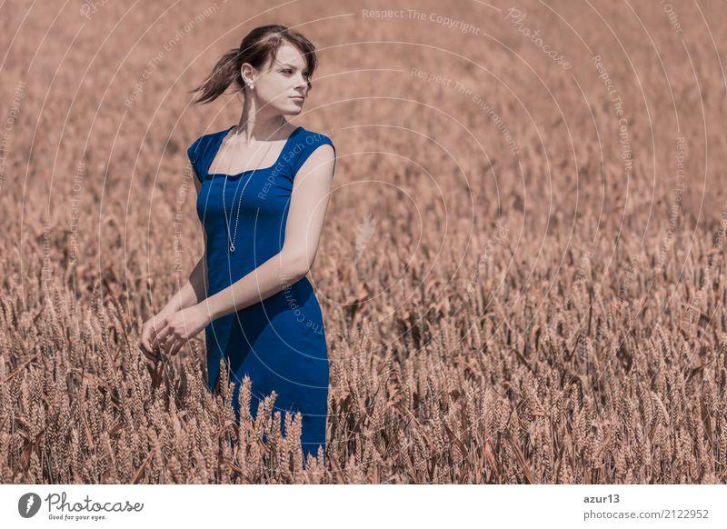 Autumn beauty in cornfield with blue dress Lifestyle Freude Körper Wellness Leben harmonisch Wohlgefühl Zufriedenheit Sinnesorgane Erholung ruhig Meditation