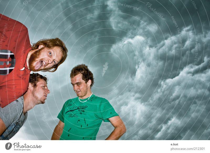 ansichtsSache. Mensch maskulin Freundschaft 3 18-30 Jahre Jugendliche Erwachsene Himmel Wolken Gewitterwolken schlechtes Wetter Unwetter Lächeln Blick schreien
