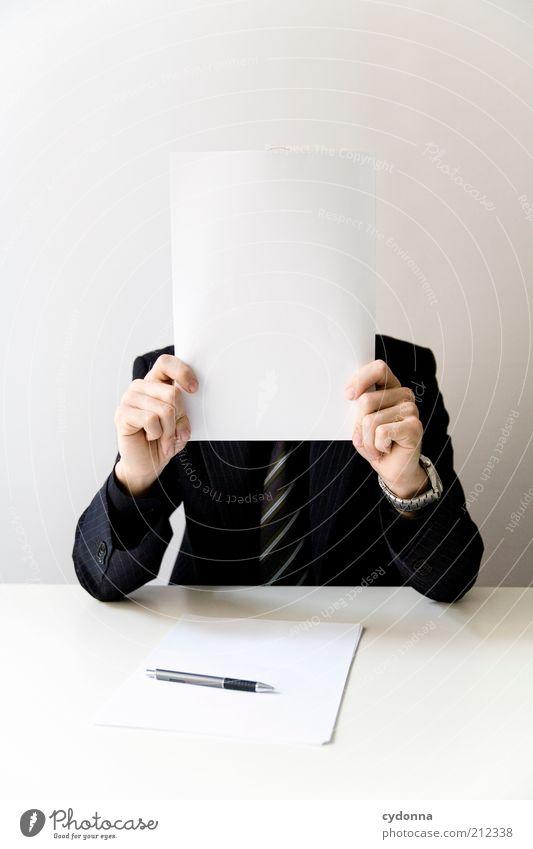 Undurchsichtige Geschäfte Mensch Mann Blatt Erwachsene Leben Arbeit & Erwerbstätigkeit Business Büro Erfolg Zukunft planen Idee Bildung verstecken Sitzung