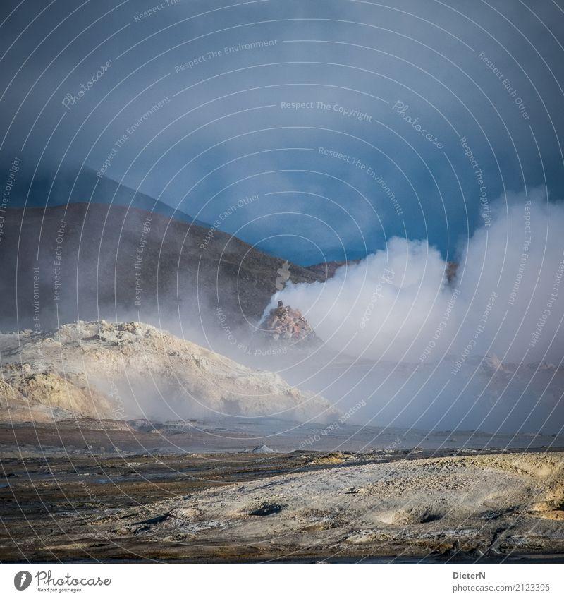 Dampf ablassen Umwelt Natur Landschaft Urelemente Sand Feuer Luft Wasser Himmel Wolken Wetter schlechtes Wetter Hügel Vulkan blau gelb weiß Island