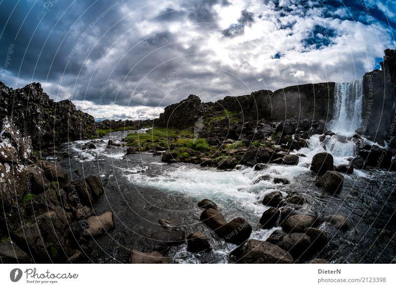 Thingvellir Umwelt Landschaft Wasser Himmel Wolken Sommer Wetter Schönes Wetter Pflanze Gras Felsen Schlucht Wasserfall blau grün schwarz weiß Island dramatisch