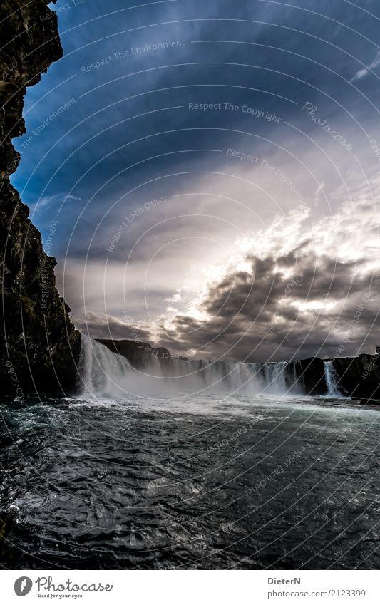Godafoss III Umwelt Natur Landschaft Wasser Himmel Wolken Wetter Felsen Schlucht Wellen Flussufer Wasserfall blau braun weiß Island Sonne Sonnenuntergang