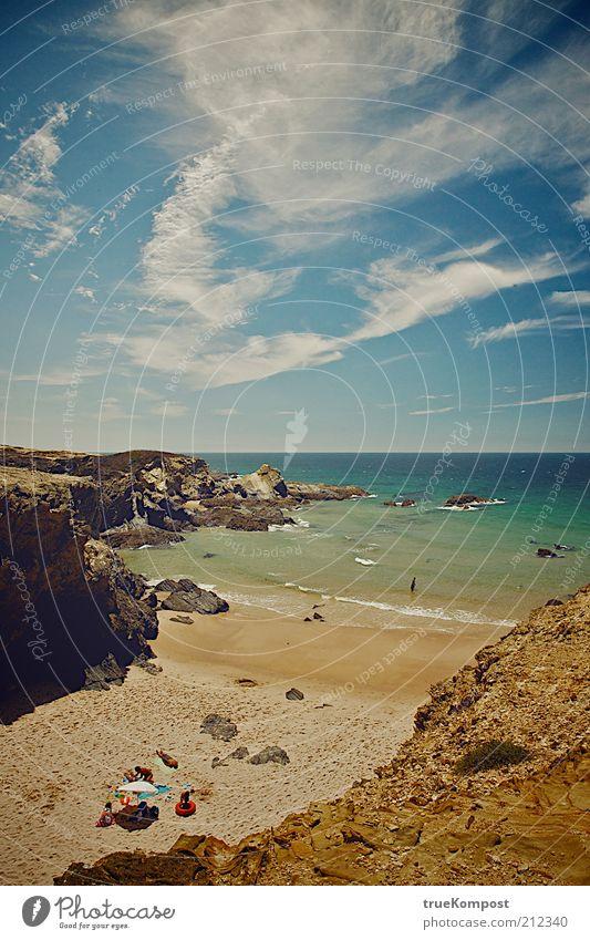 Republica Portugesa V Mensch Natur Wasser Himmel Meer Sommer Strand Ferien & Urlaub & Reisen Ferne Erholung Sand Landschaft Zufriedenheit Küste Wellen Horizont