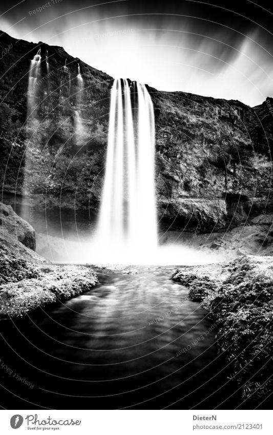 Wellen Umwelt Natur Landschaft Himmel Wolken Sommer Wetter schlechtes Wetter Gras Wiese Felsen Flussufer Bach Wasserfall grau schwarz weiß Island Felswand