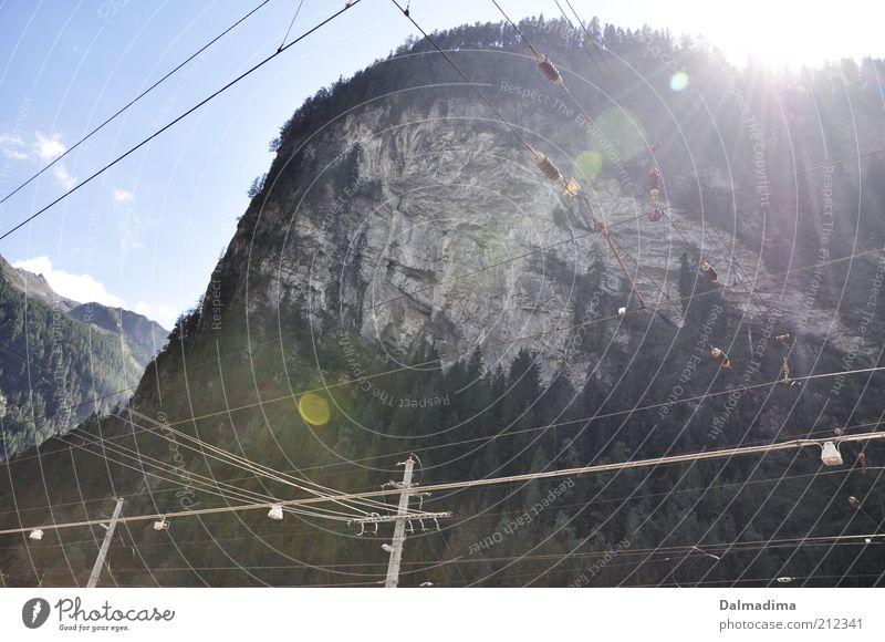 Natur und Technik Landschaft Erde Himmel Wolken Sonne Sonnenlicht Sommer Wald Felsen Alpen Gipfel groß Heimweh Berge u. Gebirge Bahnanlage Elektrizität