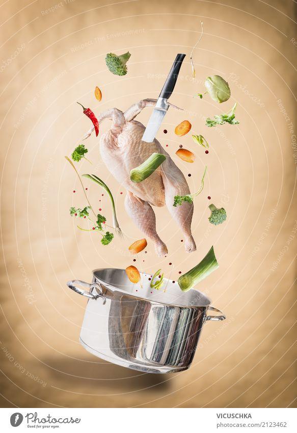 Hähnchensuppe kochen Gesunde Ernährung Foodfotografie Essen Stil Lebensmittel Design Kräuter & Gewürze Küche Gemüse Geschirr Fleisch Messer Essen zubereiten