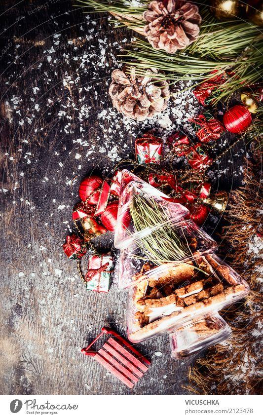 Weihnachtskarte mit Dekoration und Plätzchen Weihnachten & Advent Winter Stil Feste & Feiern Stimmung Design Dekoration & Verzierung Postkarte Süßwaren