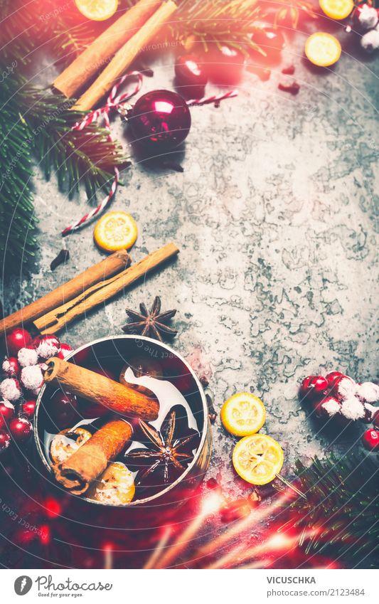 Weihnachten Hintergrund mit Glühwein und Gewürzen Getränk Lifestyle Stil Design Winter Party Veranstaltung Weihnachten & Advent Dekoration & Verzierung Stimmung