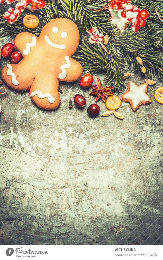 Lebkuchenmann mit Gewürzen und Weihnachtsdekoration Lebensmittel Teigwaren Backwaren Dessert Stil Design Winter Feste & Feiern Weihnachten & Advent
