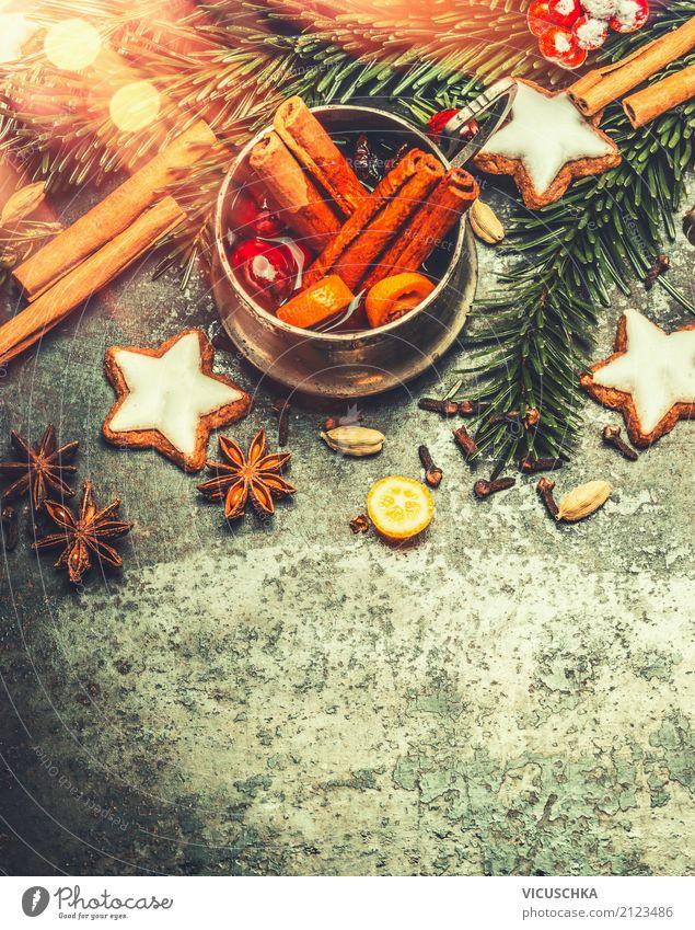 Glühwein mit Gewürzen und Plätzchen Weihnachten & Advent Winter Wärme Hintergrundbild Stil Feste & Feiern Design Häusliches Leben Dekoration & Verzierung