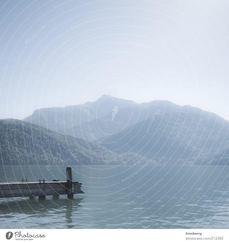 new time new place Sinnesorgane Erholung ruhig Umwelt Natur Landschaft Pflanze Wasser Himmel Wolkenloser Himmel Sommer Klima Wetter Schönes Wetter Hügel Alpen