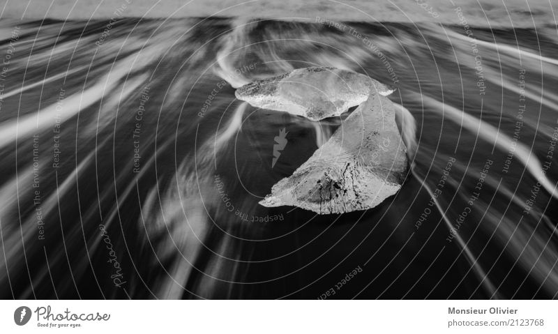 Eis Abstrakt Frost Wellen Küste ästhetisch abstrakt Bewegung Eisberg Island Gletscher Meer Schwarzweißfoto Menschenleer Kontrast