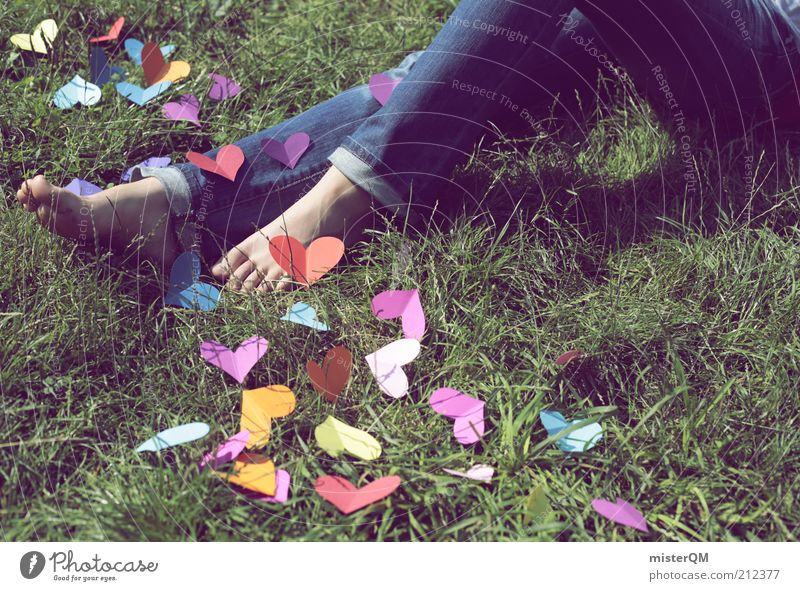 With Love. Liebe Wiese Gefühle Gras Beine Fuß Kunst Zufriedenheit außergewöhnlich Freizeit & Hobby ästhetisch Kreativität Idee Verliebtheit Jeansstoff