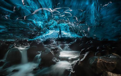 Eishöhle, Gletscher, Island Mensch Natur Ferien & Urlaub & Reisen blau Landschaft Tourismus wandern Aktion Abenteuer Klima Fluss Frost Expedition
