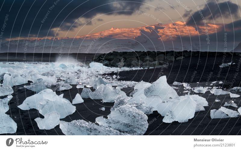 Diamond Beach, Jökulsárlón Glacier Lagoon, Iceland Natur Landschaft Sonnenaufgang Klima Eis Frost Wellen Küste Strand Lavastrand Fotografieren Reisefotografie
