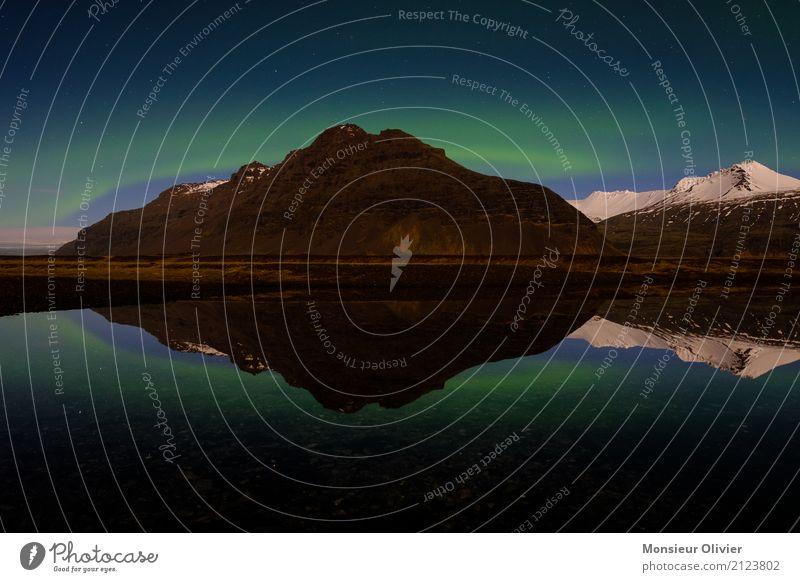 Nordlicht, Aurora Borealis, Island Himmel Berge u. Gebirge Gipfel Schneebedeckte Gipfel See blau grün Abenteuer Ferien & Urlaub & Reisen Aktivurlaub