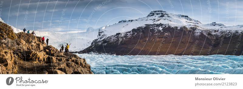 Gletscher Abenteuer in Island, Winter 2017 Mensch Menschengruppe Umwelt Natur Landschaft Himmel Wolken Klima Berge u. Gebirge Gipfel blau Eis Schnee