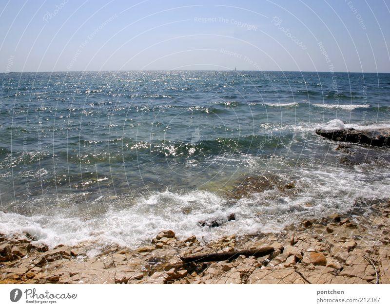 Frisch aus Kroatien II Himmel Natur blau Wasser schön Ferien & Urlaub & Reisen Meer Sommer Strand Ferne Küste Wellen Horizont Tourismus Urelemente Schönes Wetter