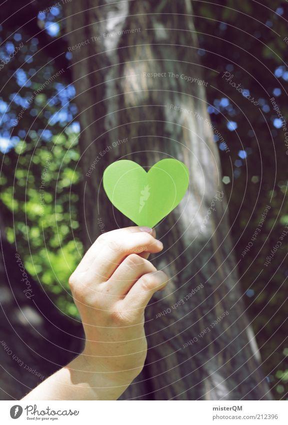 Öko Lover. Natur Hand Baum grün Wald Luft Gesundheit Umwelt Zeichen festhalten ökologisch Denken Pflanze Heimat nachhaltig Optimismus