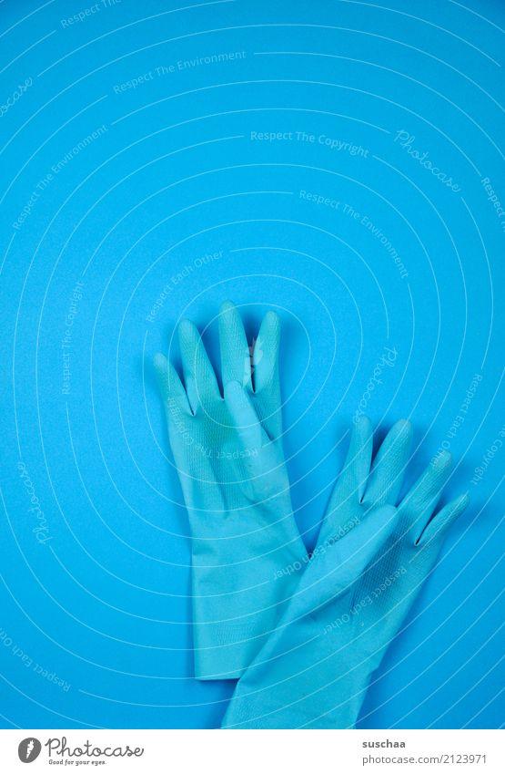 blau (2) Handschuhe einfarbig Reinigen Finger handschutz