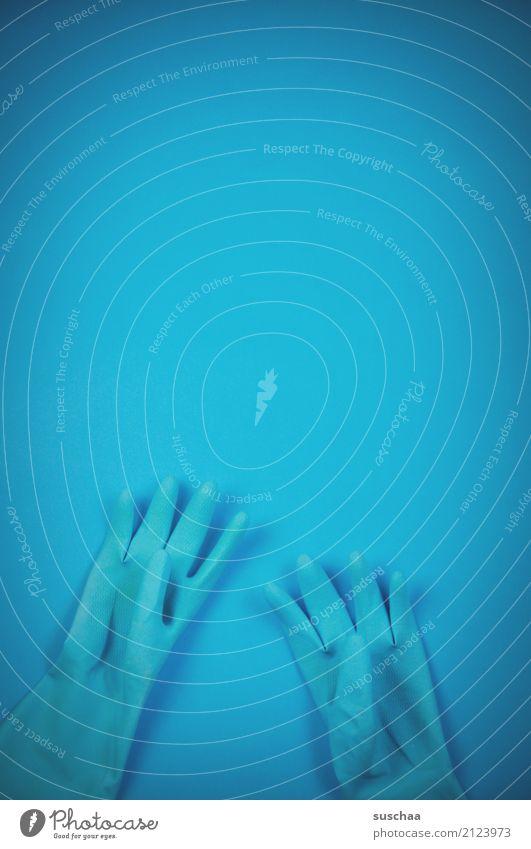 blau Handschuhe einfarbig Reinigen Finger handschutz