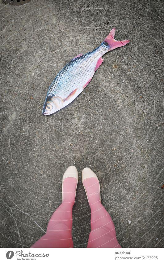 fisch an land Fisch Attrappe Papier falsch Surrealismus seltsam Beine Fuß Schuhe Strümpfe stehen Außenaufnahme weiblich Straße rosa
